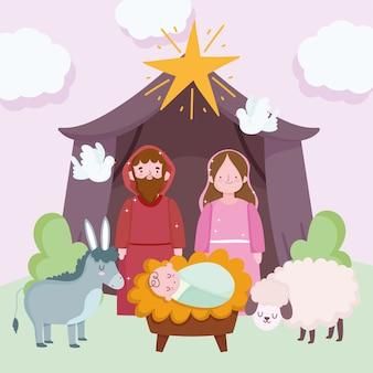Nativity, manger cute holy family and animals in hut cartoon vector illustration