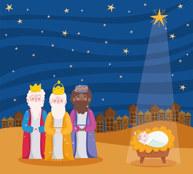Nativity, manger three wise kings and baby jesus with star cartoon  illustration