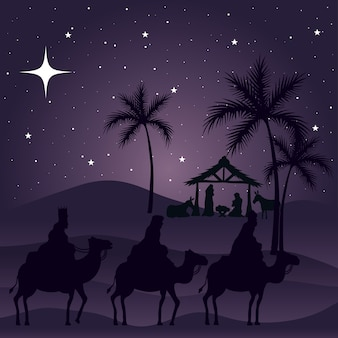 Nativity mary joseph baby and wise men on purple background design, merry christmas theme
