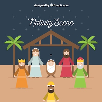 Nativity scene background in flat design
