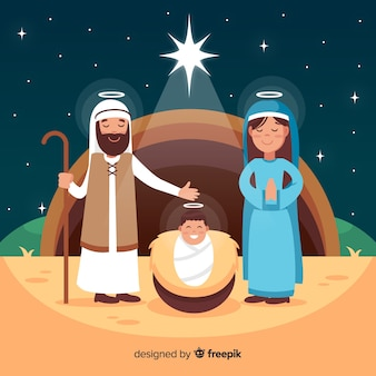 Nativity scene background in flat style