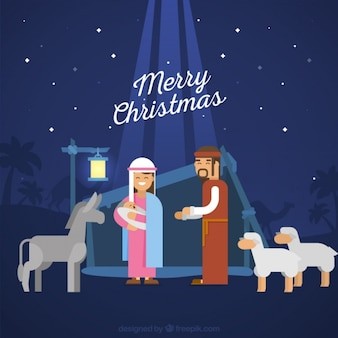 Nativity scene background with animals