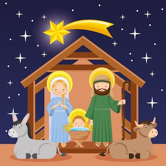 Nativity scene cartoon in the night