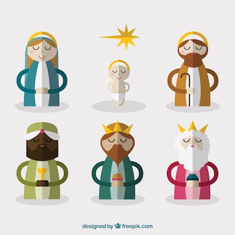 Nativity scene characters in flat design