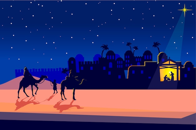 Nativity scene concept in flat design