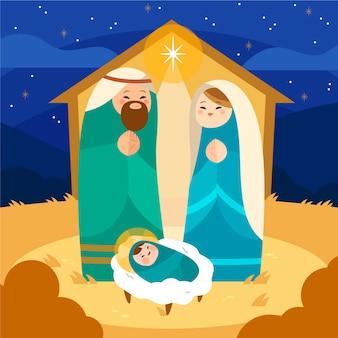 Nativity scene concept in hand drawn