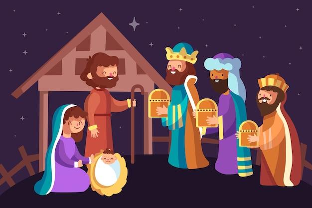 フラットなデザインのキリスト降誕シーンのコンセプト