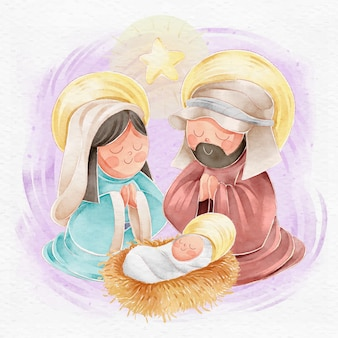 水彩でキリスト降誕シーンのコンセプト