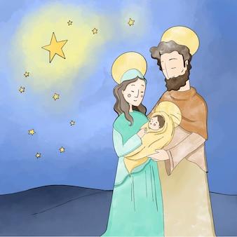 Nativity scene concept in watercolor
