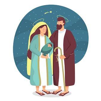 Nativity scene in flat design