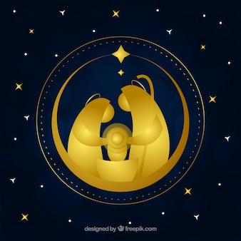 Nativity scene golden background