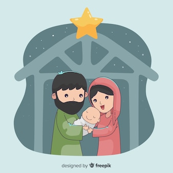 Nativity scene hand drawn background