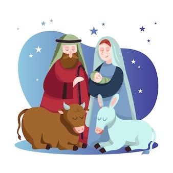 キリスト降誕シーン手描きイラスト 無料ベクター