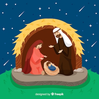 Nativity scene happy family background