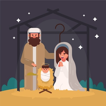 Nativity scene illustration in flat design