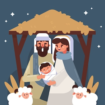 Nativity scene illustration in flat design
