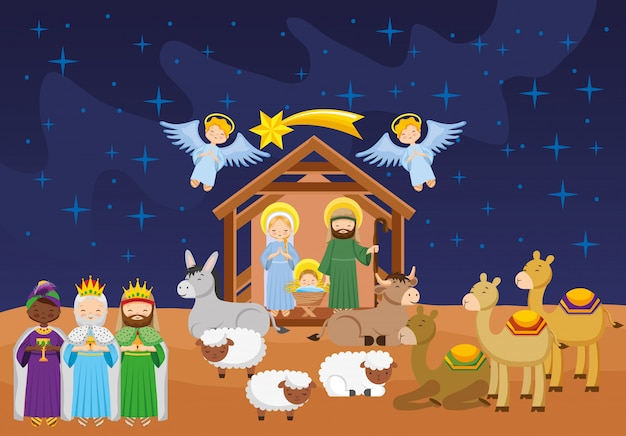 Nativity scene with baby jesus cartoon.