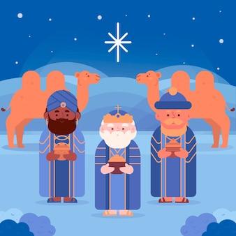 砂漠のラクダとキリスト降誕のシーン