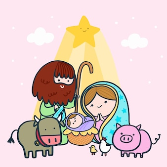 Nativity scene with family and animals