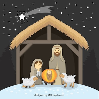 Nativity scene with lovely sheep and shooting star