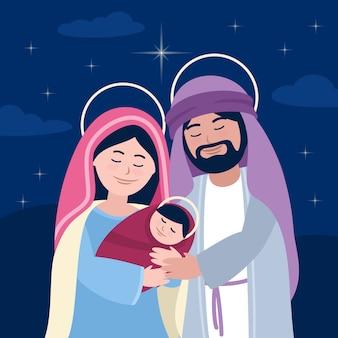 親と子のキリスト降誕のシーン