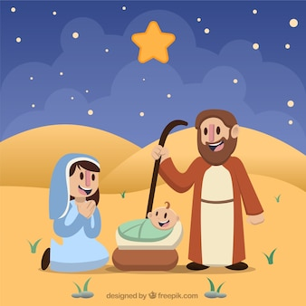 Nativity scene with smiling characters