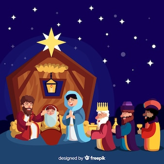 Nativity scene with three wise men