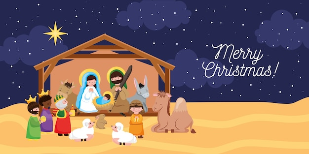 Nativity scene with wise men and animals