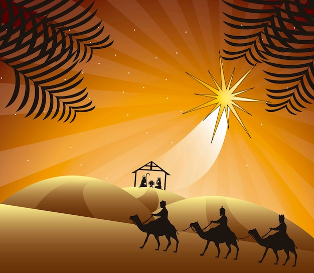 Nativity scene with wise men vector illustration