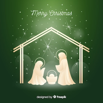 Nativity shiny silhouette background
