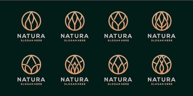Natura 플라워 로고 디자인 번들