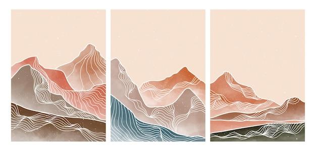 線画とセットの自然な抽象的な山。ミッドセンチュリーモダンミニマリストアートプリント。抽象的な背景の風景