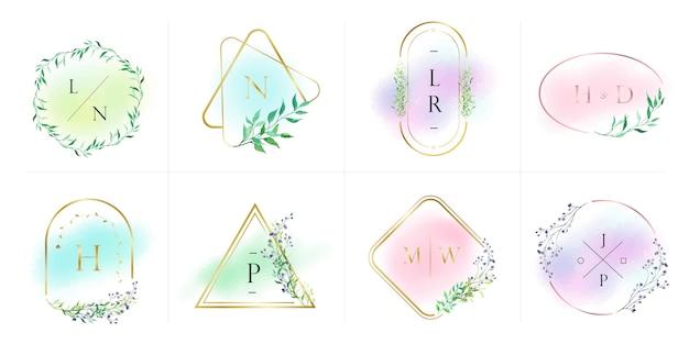 ブランディング、コーポレートアイデンティティのための自然で有機的なロゴコレクション。水彩風の花とゴールドフレーム
