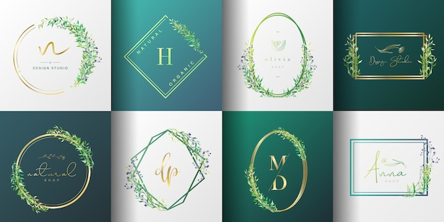 ブランディング、コーポレートアイデンティティ、パッケージ、名刺の自然で有機的なロゴコレクション。
