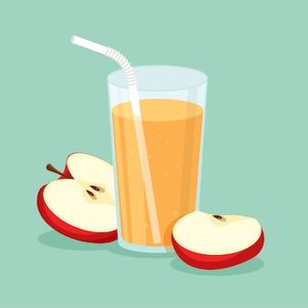 유리에 천연 사과 주스. 잘라 슬라이스 및 마시는 빨대로 신선한 압착 과일 주스. 건강한 유기농 식품.