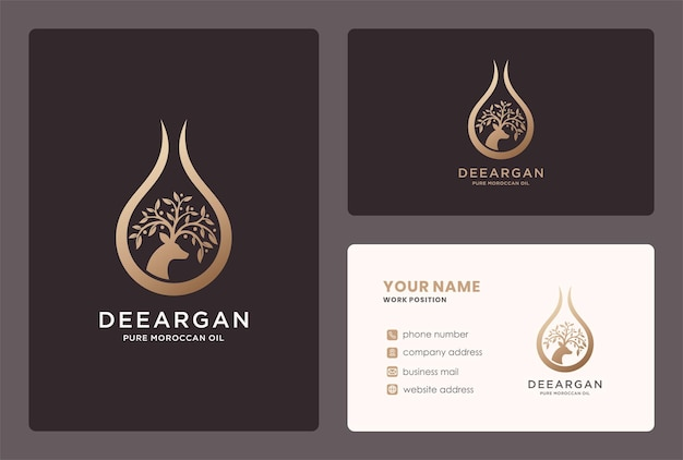 Natural argan oil drop logo design with branch and deer element.