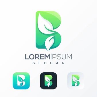 Шаблон логотипа natural b leaf