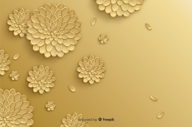 Natural background with 3d golden flowers