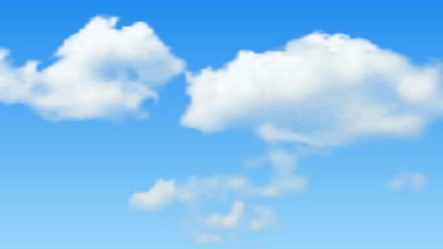 푸른 하늘에 구름과 자연 배경입니다. 파란색 배경에 현실적인 구름입니다. 벡터 일러스트 레이 션