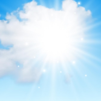 青い空に雲と太陽と自然な背景。青い背景にリアルな雲。ベクトルイラスト