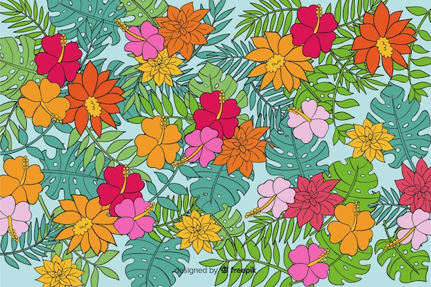 Natural background with colorful exotic floral