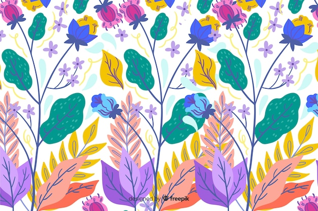 Natural background with colorful exotic flowers