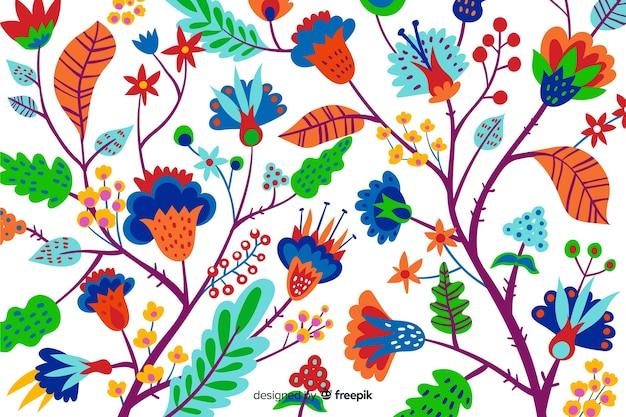 화려한 이국적인 꽃과 자연 배경