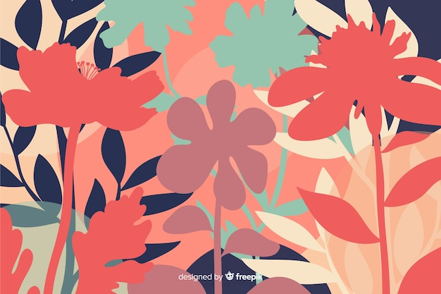 Natural background with colorful floral silhouettes