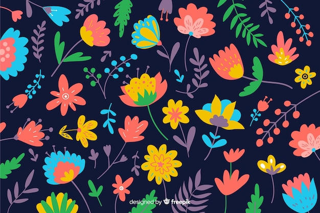 Natural background with colorful flowers
