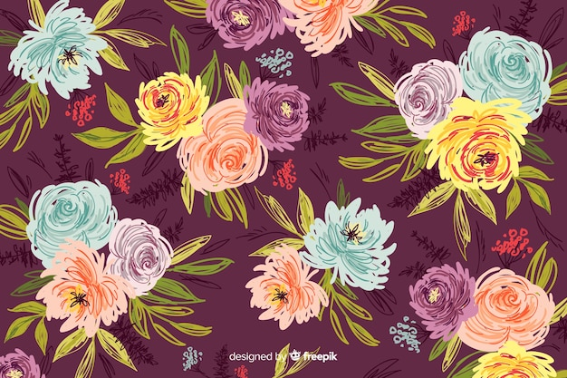 Natural background with colorful painted flowers