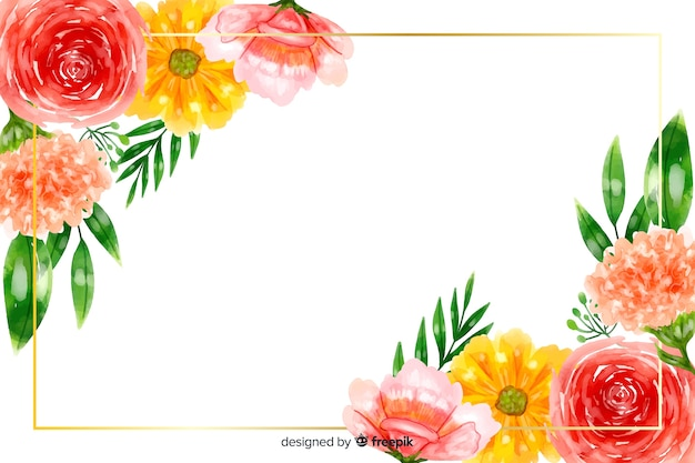 Natural background with colorful watercolor flowers