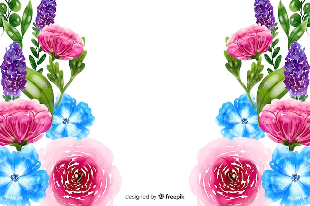 Sfondo naturale con fiori colorati ad acquerelli