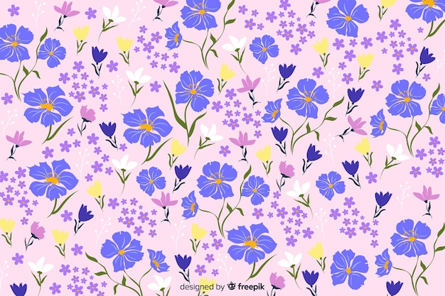 Natural background with flat flowers