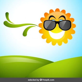 Natural background with funny sun
